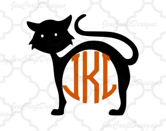 Cat Monogram Frame svg eps dxf eps, Halloween Monogram Frame, Halloween Designs, SVG Files,Vector Art, Cricut, Silhouette, Heat Transfer