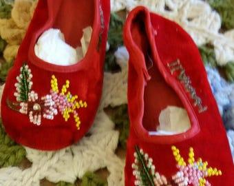 Vintage Red Velvet Shoes/ Child's Souvenir/Hawaii