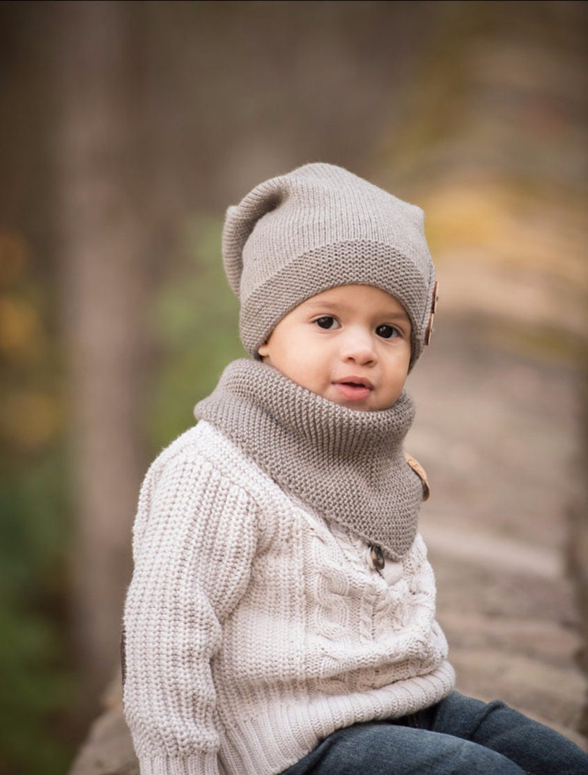 Knitting Kids Hat : Knitted kids slouchy hat warm beanie toddler boy