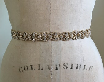 Gold Bridal Belt-Gold Bridal Sash-Gold Bridesmaid Belt-Bridal Sash Belt ArtDeco Gold Rhinestone Beaded Bridal Sash Belt-Gold Bridesmaid Sash