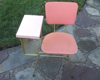 Pink Vinyl & Bronze Retro Telephone / Gossip Table