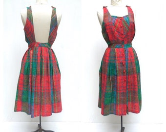 1970 s Red and Green Check Backless French Midi Sundress