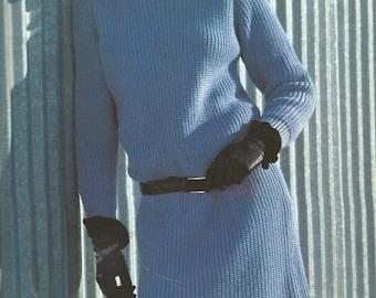 Ladies Raglan Ribbed Sweater Dress Knitting PDF Pattern