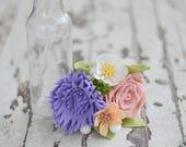 Rose, Mum, Baby Daisy & Wildflower Felt Flower Bouquet / Ready-To-Ship Handmade Merino Wool-Blend Forever Flowers
