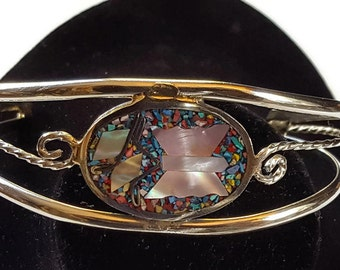 Alpaca Jewellery Mexico vintage bangle Mother of Pearl butterfly surrounded by crushed coloured stones