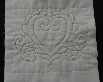 4 Machine embroidered quilt square,blocks