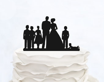 Family Cake Topper_Wedding Cake Topper Bride & Groom holding baby boy with little girl_Custom Cake Topper silhouette with date and children