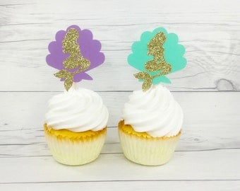 Mermaid Cupcake topper, Under The Sea Cup Cake Topper, Purple And Aqua Gold Cup Cake Topper