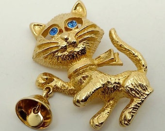 Vintage Avon Cat with Bell Brooch