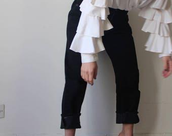 Vahine / shirt or jacket Vintage wrap / white / ruffled sleeves / Victorian Style