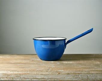 Blue enamel pan. Vintage metal enamelware milk or egg pan. Yugoslavia. Small rustic tin saucepan. Farmhouse kitchen cookware. Primitive.