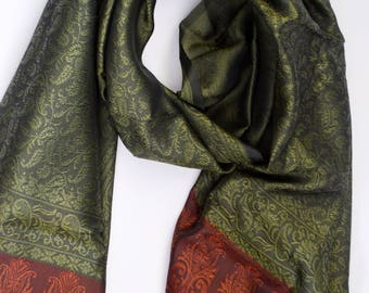 Green red evening wrap-Fringe scarf-Paisley Silk Scarf-kashmiri Scarf-Prom dress wrap-Handloom-Brocade silk-wedding accessory XS130OG19