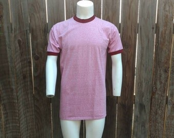 Vintage Men's Ringer Tee 70's T Shirt Red Penneys Towncraft XL Poly Cotton Disco