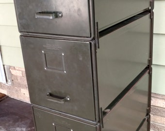 Vintage Industrial General Fireproofing Company Five Stackable Transfer File Cabinets