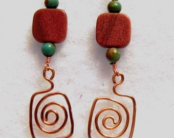 Genuine turquoise, goldstone and copper earrings, OOAK