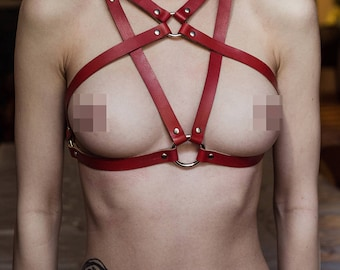 Genuine red leather harness