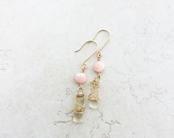 Oregon Sunstone Earrings with Pink Rhodolite Gemstones >> Wire Wrapped Gold Sunstone Jewelry >> Bohemian >> Gifts For Her >> Oregon Gemstone
