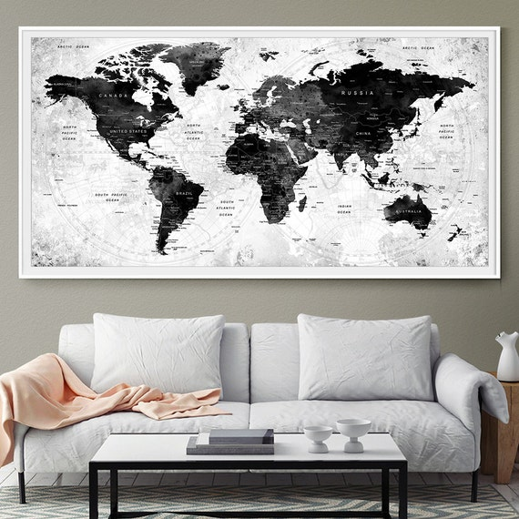 Large watercolor map world push pin travel cities wall black like this item gumiabroncs Images