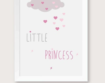 Printable nursery, little princess art, baby girl room decor, pink baby decor, nursery decor, nursery prints, nursery pink-gray.