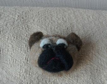 Needle felted Pug Brooch
