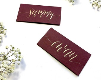 Burgundy name cards, calligraphy, copper, gold, pearl, wedding, table decor