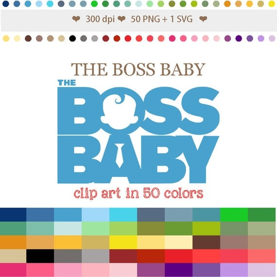 50 Colors Digital THE BOSS BABY Clipart Baby Shower ...