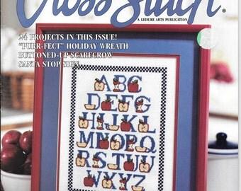 Cross Stitch Magazine, 90s Leisure Arts Publication, Apple Alphabet,  Earth Angel, Scarecrow, Santa, Witch Pillow,  Christmas  Cross Stitch,