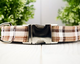 Brown & White Plaid adjustable Dog Collar w/ Metal Buckle
