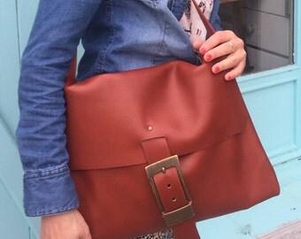 "Handbag satchel ""Brown real leather Red Fox, large cross body satchel"" by eleste"