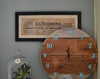 "Wood Wall 18"" Clock , Recycled wood Clock"
