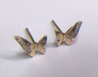 Butterfly in pink gold and diamonds earrings