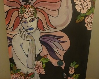 Original Canvas Painting by Giuliana - Pink Glamour Fairy