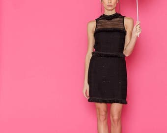 SS17 Collection, Black Short Sleeveless Dress, Bodycon Dress with Fringe Decoration and Transparent Front and Back by ILMNE