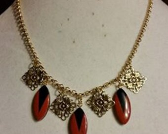 Red Jasper & Black Onyx Filigree Necklace