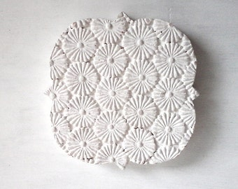 Sorority sister gift, white beach decor, quatrefoil sculpture, female graduation gift, ceramic flower wall art, geometric wall art