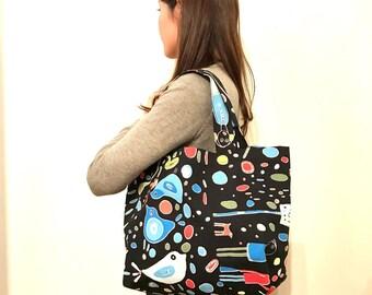 Blue Bird Tote Bag,Cotton Canvas Tote Bag,Large tote bag,shopping Bag, Women's Tote, Shoulder bag, School Bag, Market bag, gift for her, Mom
