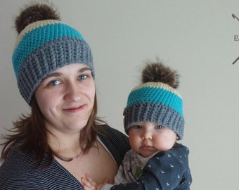 Pair of lined hats made crochet 3 colors-12 months
