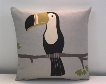 """Scion Terry Toucan double sided Cushion covers. Charcoal/ Putty colourway 12 x 12"""""""