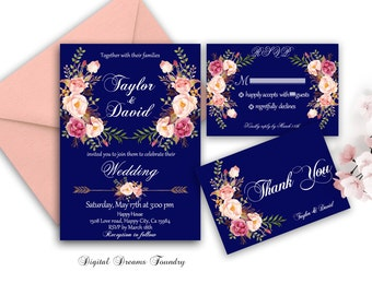 Navy Blue Wedding Invite Floral Wedding Invitation Printable Boho Wedding Invitation Set Romantic Wedding Invite Blush Pink Wedding Invite