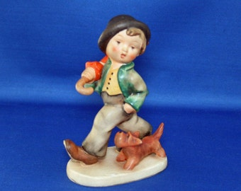 Vintage Goebel MI Hummel - 5 V Bumble Bee - Strolling Along circa 1950 – 1955 Boy and Dog Made in Germany