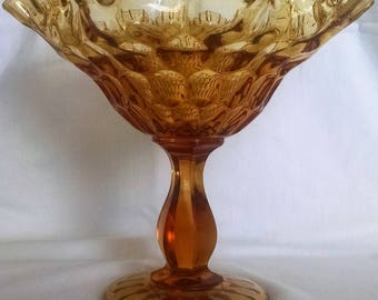 Fenton Art Glass Large Amber Thumbprint Pattern Crimped and Ruffled Edge  Footed Compote