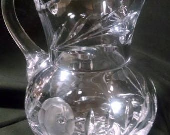 Czechoslovakian Lead Crystal Clear Etched Cabbage Rose Pitcher