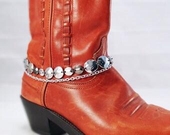 Silver & gunmetal boot bracelet, Boot bracelet, Western silver and gunmetal hammered metal boot bracelet, Cowboy boot bracelet, Boot bling