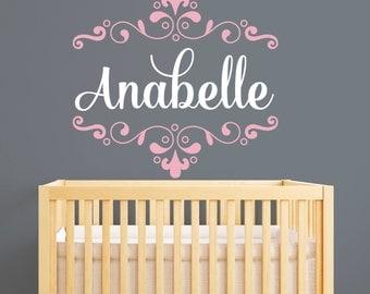 Name Wall Decal - Monogram Wall Decal - Nursery Wall Decal - Baby Girl Decal - Shabby Chic Nursery Decor - Swirls Decal - Nursery Decor