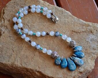 Blue agate - agate necklace - tear drop pendant - gemstone necklace - gift for her - blue necklace - - fashion necklace - boho chic.