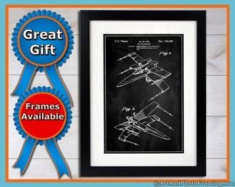 X-Wing Patent Print Star Wars Decor X-Wing Poster Star Wars Wall Art Drawing Star Wars Gifts X Wing Print Fathers Day Star Wars Posters