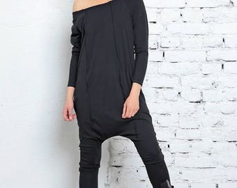 Black Jumpsuit, Off Shoulder Top, Harem Jumpsuit, Black Overall, Cotton Jumpsuit, One Piece Romper, Goth Style, Black Jumper, Baggy Pants