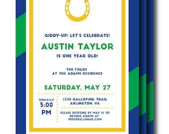 Kentucky Derby Invitation - Printable Navy, Green, Pink Horseshoe Invitation (Personalized Invitation, Derby Party, Derby Birthday)