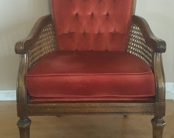 Exceptional Vintage Cane Chair, Red, Cane Chair, Vintage Furniture, Chair, Cane Chair