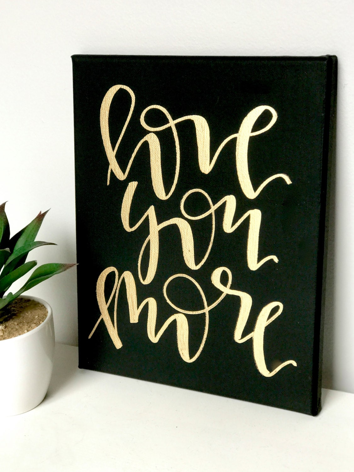 love you more 8x10 mini canvas black and white navy and zoom